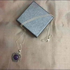 Jewelry - Purple Turquoise and Marcasite Necklace